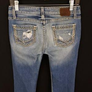 BKE Womens Distressed Light Blue Denim Jeans Sz 26